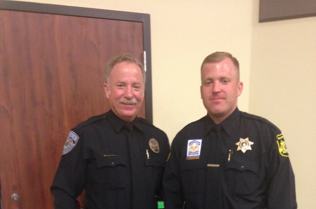 Trussville Police Officers Mike and Sean Roberson after Sean's graduation from the police academy. Photo courtesy of Mike Roberson